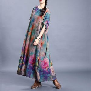 Vintage Blue Printed Pleated Dress Large Silk Swing Dress