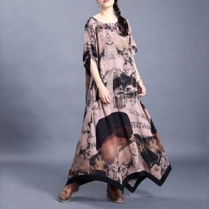 Asymmetrical Hem Chinese Dress Printed Maxi Loose Dress