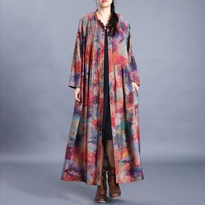 Single-Breasted Pleated Shirt Dress Loose Red Printed Modest Dress