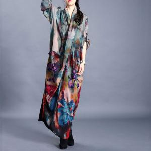 Back Slits Printed Plus Size Maxi Dress Long Sleeve Pleated Modest Dress