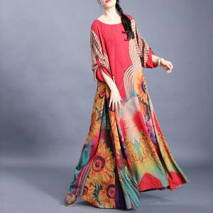 Beautiful Flowers Large Flowing Dress  Red Beach Vacation Outfits