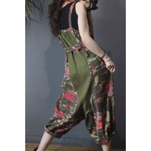 Rose Printing Plus Size Overalls Korean Overalls with A Belt