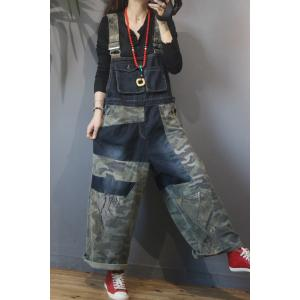 Flap Pockets Wide Leg Camo Overalls Plus Size Denim Dungarees