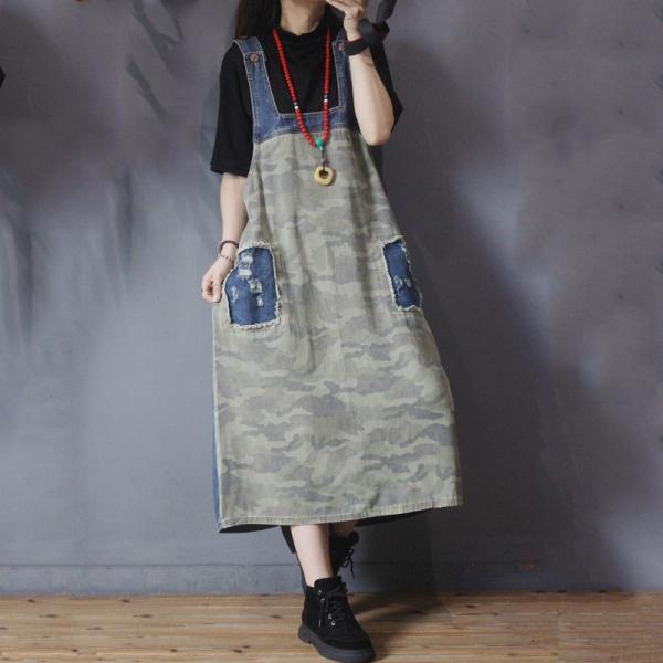 Denim Patchwork Camo Dress A-Line Denim Overall Dress