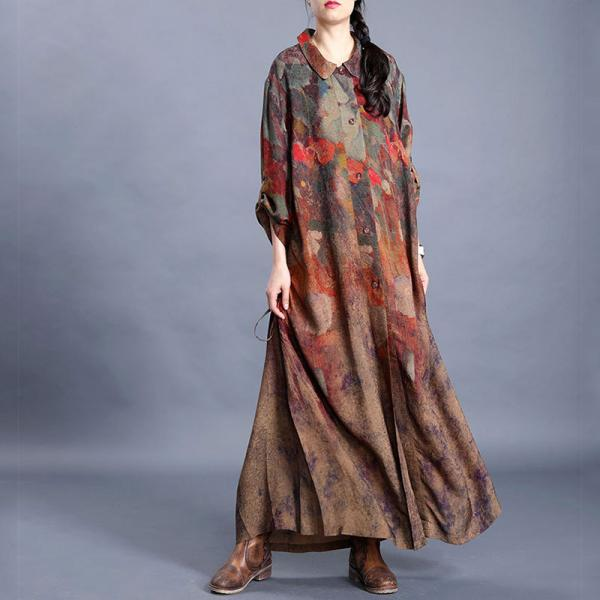 Modest Fashion Maxi Drawstring Dress Over50 Silk Dress