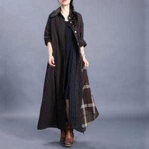 Vertical Striped Line Shirt Dress Loose Fringed Modest Dress