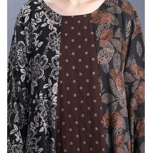 Leaf Pattern Loose Flax Clothing Long Sleeve Cruise Dress