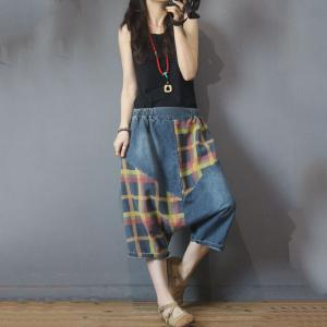 Colorful Checkered Harem Pants Korean Baggy Cropped Jeans