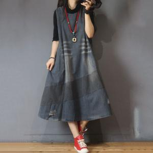 Casual Style Fit and Flare Dress Denim Sleeveless Dress