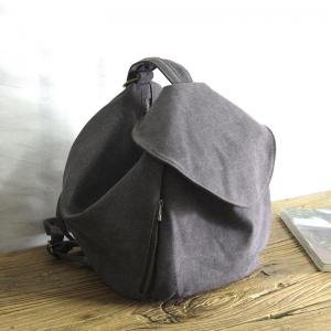 Korean Chic Dark Gray Canvas Backpacks