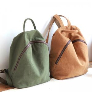 Preppy Style Plain Canvas Backpacks for Women