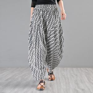 Letter Pattern Cotton Bootcuts Womens Baggy Harem Trousers