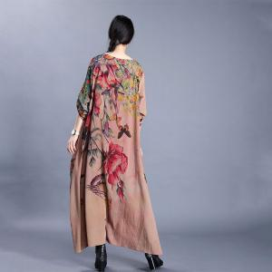 Flowers and Butterfly Vintage Maxi Dress Loose Elegant Church Dress