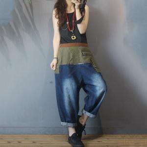 Green Contrast Flap Pockets Baggy Jeans for Women