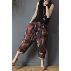 Summer Fashion Printed Loose Pants Cotton Linen Vintage Trousers