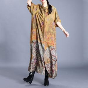 Vintage Clouds Pattern Silky Shirt Dress Thigh Slits Cardigan