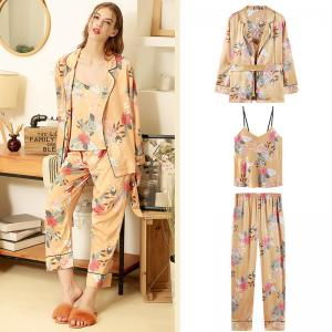 Flowers Printed Orange Sleepwear Womens Silky Belted Pajama Sets