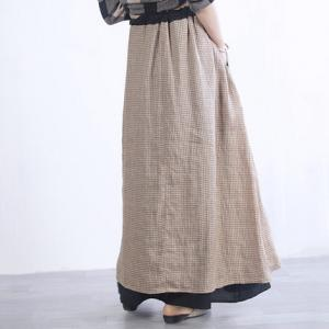 Double Layers Drawstring Loose Skirt Checkered Womens Maxi Skirt