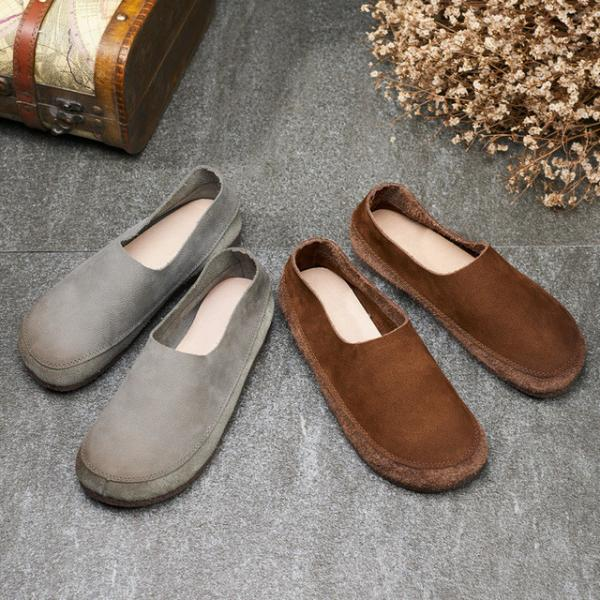 Casual Style Cozy Soft Handmade Shoes Cowhide Leather Vintage Flats