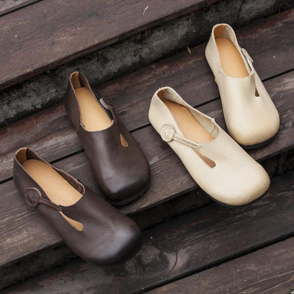 Solid Color Velcro Leather Flats Round Toe Slip-On Shoes