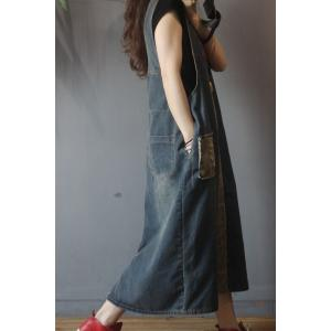 Retro Style Camo Overall Dress U-Neck A-Line Denim Dress
