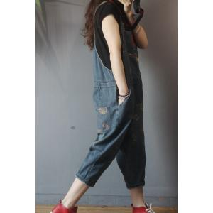 Ethnic Patchwork Dungaree Pants Flowers Pattern Baggy Overalls