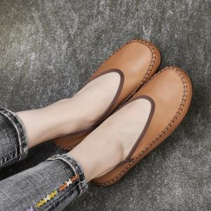 Super Comfortable Handmade Flats Cowhide Leather Anti-Slip Shoes