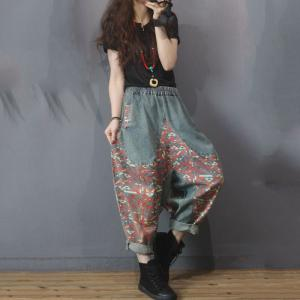 Street Style Printed Patchwork Bootcuts Womens Denim Harem Trousers