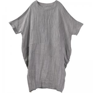 Side Zip Gray Flax Clothing Summer Large Casual Caftan