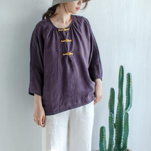 Yellow Chinese Frogs Purple Blouse Plus Size Linen Resort Attire