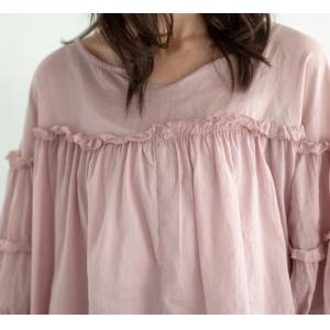 Puff Sleeve Ruffle Blouse Large Ramie Summer Shirt for Women