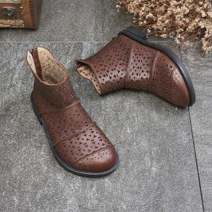 Vintage Style Hollow Out Folk Boots Cowhide Leather Womans Boots