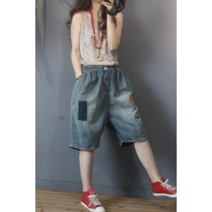 Summer Fashion Patchwork Jean Shorts Baggy Korean Ripped Jeans