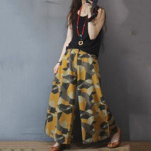 Geometrical Patterns Yellow Jeans Baggy Palazzo Pants