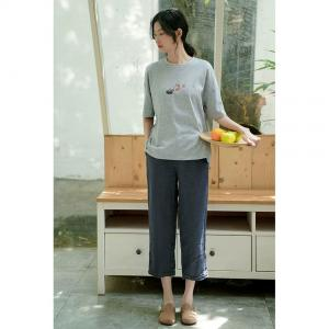 Solid Color Straight-Leg Pants Linen Summer Trousers