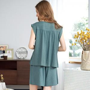Button Down Pleated Linen Vest with Homewear Shorts for Women
