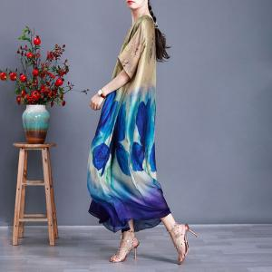 Big Printed Loose Silk Dress Summer Flowing Shift Dress