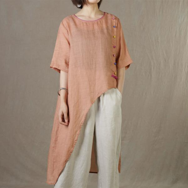 Colorful Frog Buttons Linen Shirts Womens Asymmetrical Long Tunic