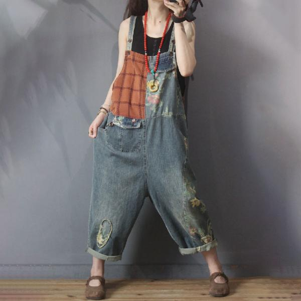 Street Style Baggy Cuffed Overalls Checkered Denim One Pieces Pants