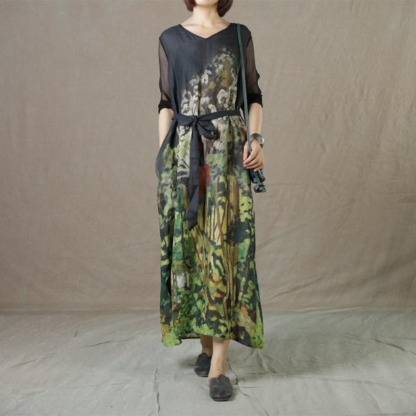 Silk Sleeves V-Neck Ramie Shift Dress Green Printed Wrap Dress