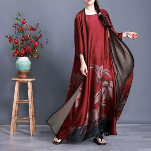 Big Printed Elegant Sleeveless Dress with Dark Red Vintage Outerwear