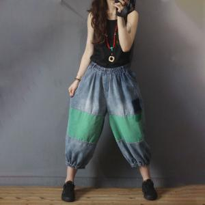 Contrast Color Balloon Jeans Hip Pockets Relax Jeans