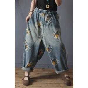 Sunflowers Pattern 90s Baggy Jeans Womens Cuffed Jeans