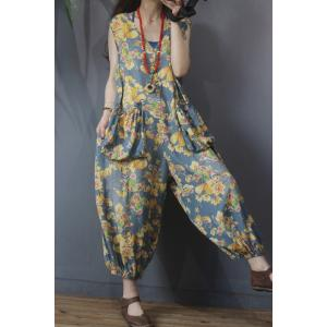 Big Pockets Fluffy Printed Jumpsuits V-Neck Sleeveless Jumpsuits