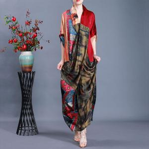 Japanese Style Maxi Kimono Dress Silk Printed Slit Dress