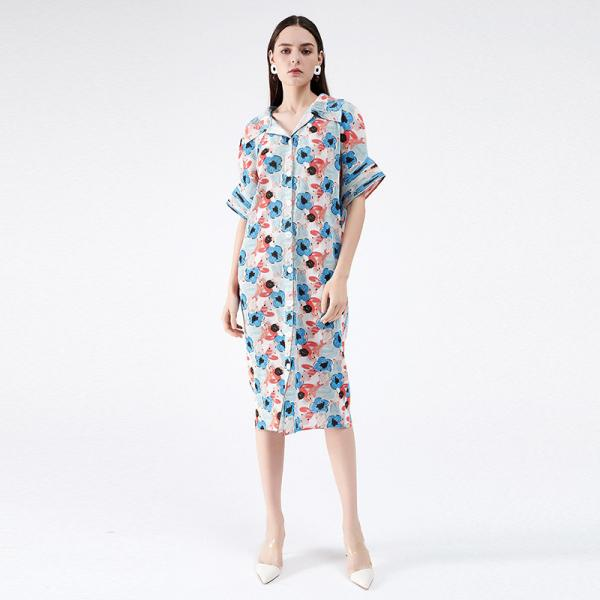 Blue Printed Oversized Shirt Dress Short Sleeve Pleated Dress