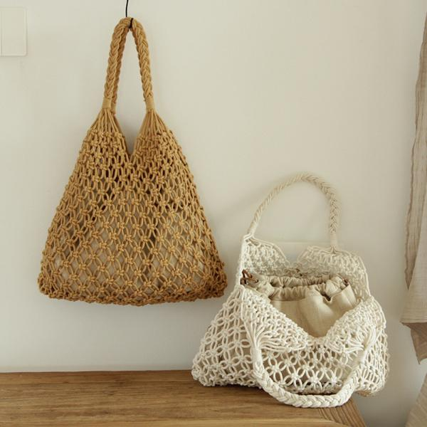 Handmade Crochet Handbag Cotton Linen Braided Boho Bag