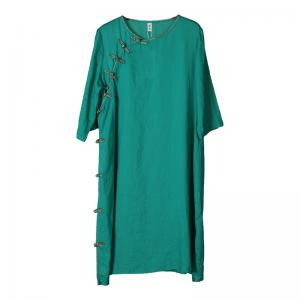 Frog Buttons Ramie Chinese Dress Green Loose Short Cheongsam