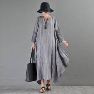 Long Sleeve Gray Fit and Flare Dress Loose Maxi Flax Clothing