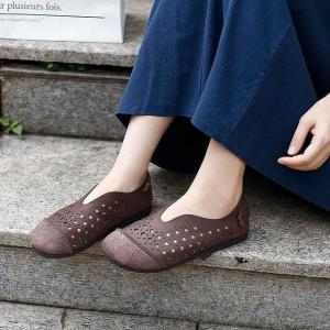 Hollow Out Leather Slip-On Flats Low Heels Soft Mom Shoes